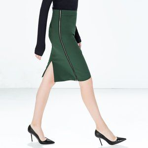 Zara Green Midi Pencil Skirt w/ Zipper Details
